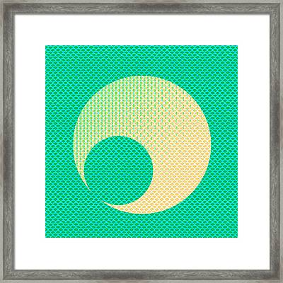 Teal And Yellow Semi Circle Framed Print by Brandi Fitzgerald
