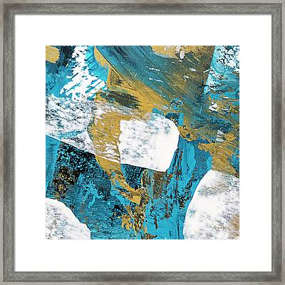 Teal Blue Abstract Painting Framed Print by Christina Rollo