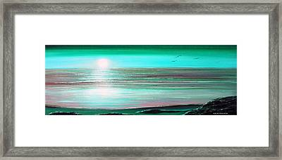 Teal Panoramic Sunset Framed Print by Gina De Gorna