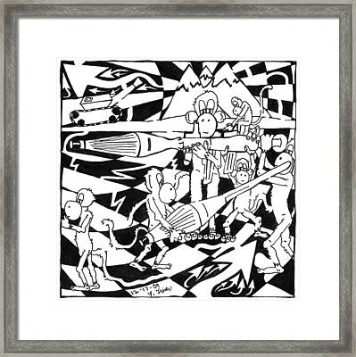 Team Of Monkeys Maze Cartoon - Firing Rpg Framed Print by Yonatan Frimer Maze Artist