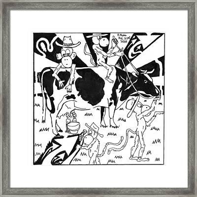 Team Of Monkeys Maze Cartoon - Milking A Holstein Cow Framed Print by Yonatan Frimer Maze Artist