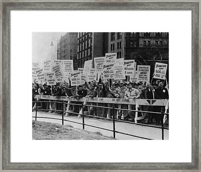 Teamster Union Members Holding Picket Framed Print by Everett