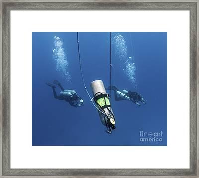 Technical Divers Ascend Near A Nitrox Framed Print by Karen Doody
