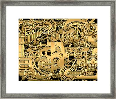 Techno Worlds - Complexity And Complications - Clockwork Gold Framed Print by Serge Averbukh