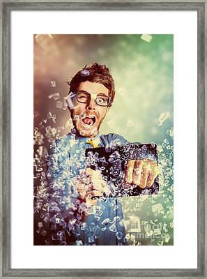 Technology Tablet Man With Creative Breakthrough Framed Print by Jorgo Photography - Wall Art Gallery