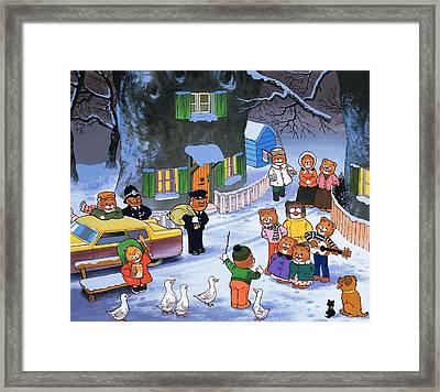 Teddies In Winter  Framed Print by English School