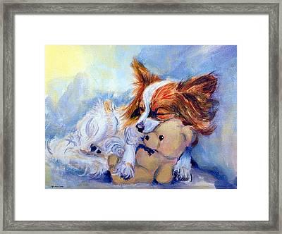 Teddy Hugs - Papillon Dog Framed Print by Lyn Cook
