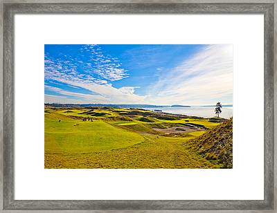 Teeing Off On The 15th - Chambers Bay Framed Print by David Patterson