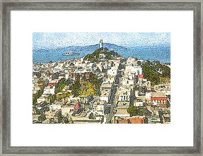 Telegraph Hill San Francisco - Watercolor Drawing Framed Print by Art America Online Gallery