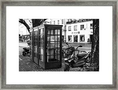 Telephone Booths In Salzburg Framed Print by John Rizzuto