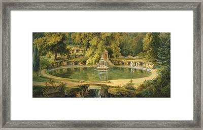Temple Fountain And Cave In Sezincote Park Framed Print by Thomas Daniell