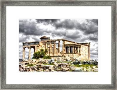 Temple On The Acropolis II Framed Print by Lynn Andrews