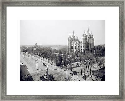 Temple Square In Winter - Salt Lake City -  1905 Framed Print by Daniel Hagerman