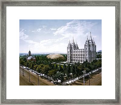 Temple Square - Salt Lake City - 1899 Framed Print by Daniel Hagerman