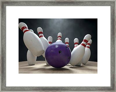 Ten Pin Bowling Pins And Ball Framed Print by Allan Swart