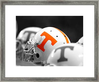 Tennessee Football Helmets Framed Print by University of Tennessee Athletics