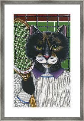 Tennis Cat Framed Print by Carol Wilson