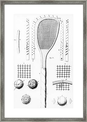 Tennis Racket And Balls Framed Print by French School