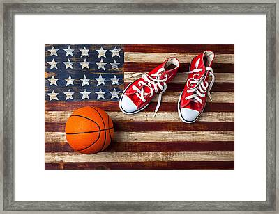 Tennis Shoes And Basketball On Flag Framed Print by Garry Gay