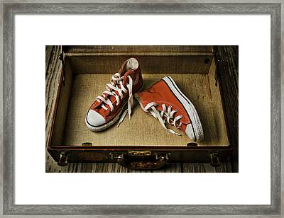 Tennis Shoes In Suitcase Framed Print by Garry Gay