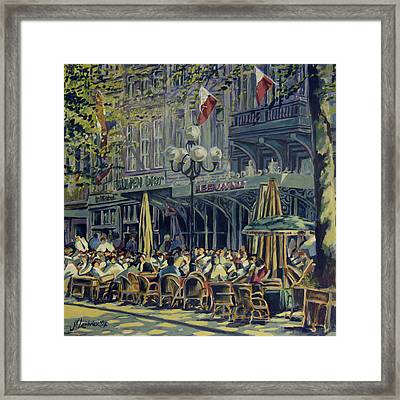 Terrace At The Vrijthof In Maastricht Framed Print by Nop Briex