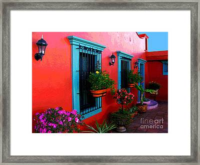 Terrace Windows At Casa De Leyendas By Darian Day Framed Print by Mexicolors Art Photography