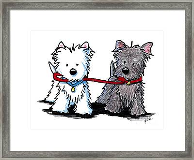 Terrier Walking Buddies Framed Print by Kim Niles