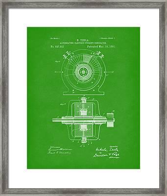 Tesla Generator 1891 Patent Art Bright Green Framed Print by Prior Art Design