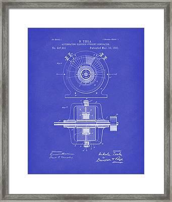 Tesla Generator 1891 Patent Art Dark Blue Framed Print by Prior Art Design