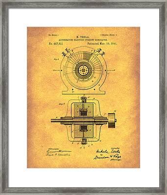 Tesla Generator 1891 Patent Art Gold Framed Print by Prior Art Design