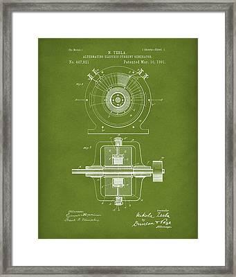 Tesla Generator 1891 Patent Art Green Framed Print by Prior Art Design