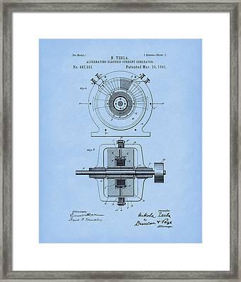 Tesla Generator 1891 Patent Art Light Blue Framed Print by Prior Art Design