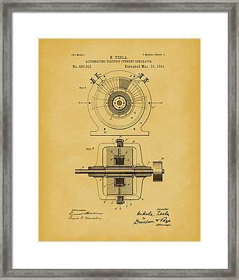 Tesla Generator 1891 Patent Art Light Brown Framed Print by Prior Art Design