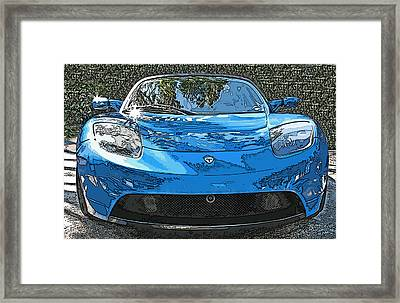 Tesla Roadster Electric Sports Car Framed Print by Samuel Sheats