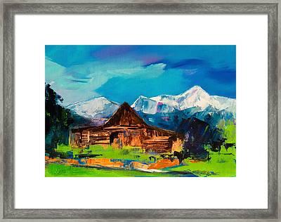 Teton Barn  Framed Print by Elise Palmigiani