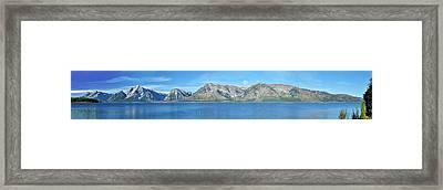 Teton Moonset Borderless Framed Print by Greg Norrell