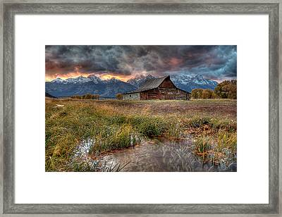 Teton Nightfire At The Ta Moulton Barn Framed Print by Ryan Smith