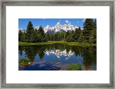 Teton Reflection Framed Print by Alan Lenk