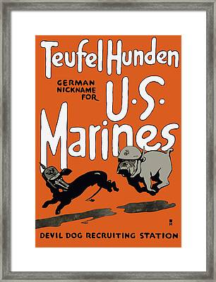 Teufel Hunden - German Nickname For Us Marines Framed Print by War Is Hell Store