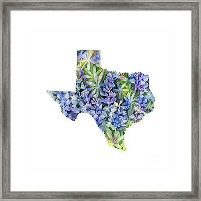 Texas Blue Texas Map On White Framed Print by Hailey E Herrera