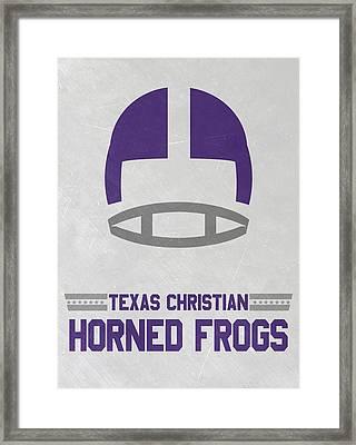 Texas Christian Horned Frogs Vintage Football Art Framed Print by Joe Hamilton
