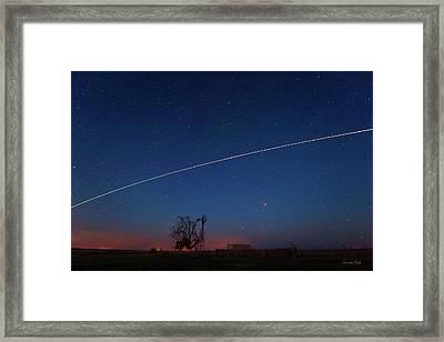 Texas Flyover Of The International Space Station Framed Print by Karen Slagle