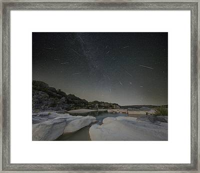 Texas Hill Country - Perseid Meteor Shower 1 Framed Print by Rob Greebon
