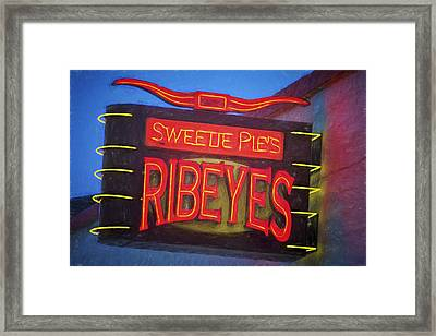 Texas Impressions Sweetie Pie's Ribeyes Framed Print by Joan Carroll