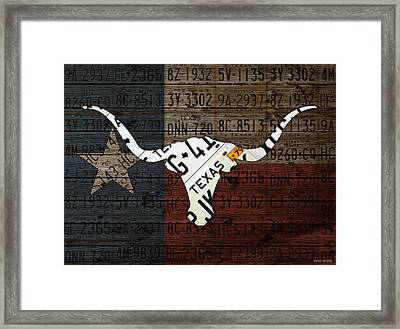 Texas Longhorn Recycled Vintage License Plate Art On Lone Star State Flag Wood Background Framed Print by Design Turnpike