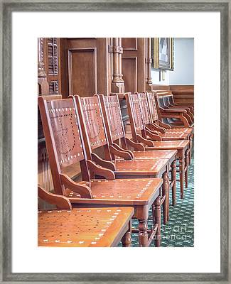 Texas Statehouse Chairs Framed Print by Edward Fielding