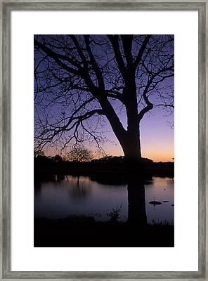 Texas Sunset On The Lake Framed Print by Kathy Yates