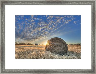 Texas Sunset Over Bales Of Hay 1 Framed Print by Rob Greebon