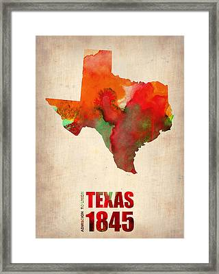 Texas Watercolor Map Framed Print by Naxart Studio
