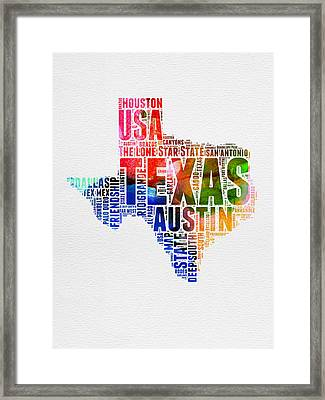 Texas Watercolor Word Cloud  Framed Print by Naxart Studio